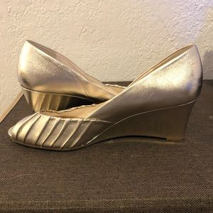 Etienne Aigner Gold Peep-Toe Wedges
